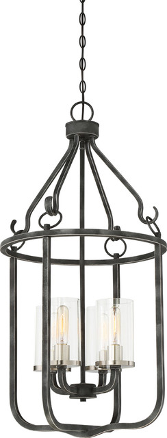 Sherwood 4-Light Pendants, Iron Black With Brushed Nickel Accents.