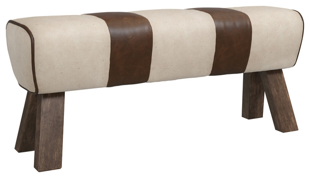 Pommel Bench, Whiskey Leather And Beige Canvas.