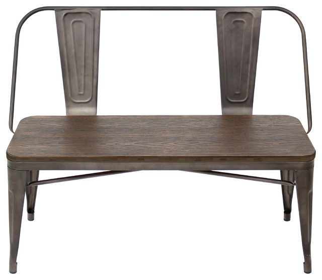 Oregon Bench, Antique And Espresso Industrial Dining Benches