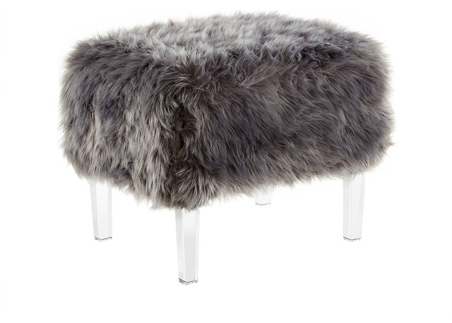 Inspired Home Theophania Luxe Faux Fur Acrylic Leg Ottoman Amp Reviews Houzz