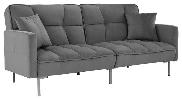 Splitback Futon Sofa Tufted Velvet Fabric Upholstery, Dark Gray.