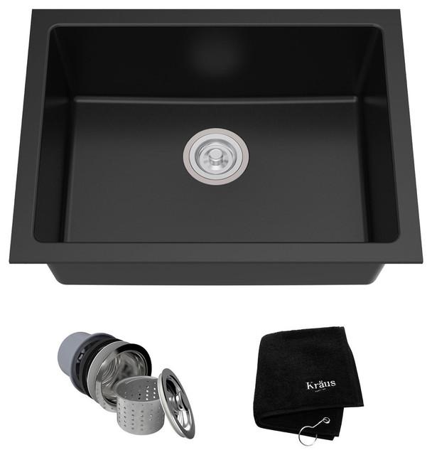"24"" Dual Mount Single Bowl Granite Kitchen Sink"