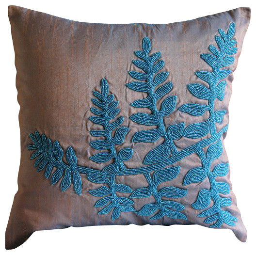 Beaded Blue Leaves Art Silk Blue Throw Pillow Covers Blue Feather