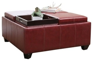 Abbyson Living Trapani Square Faux Leather Ottoman Coffee Table Red Coffee Tables By Homesquare