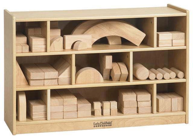Ecr4Kids Kids Wooden Block Storage Organizer Cabinet, Medium Modern Toy  Organizers