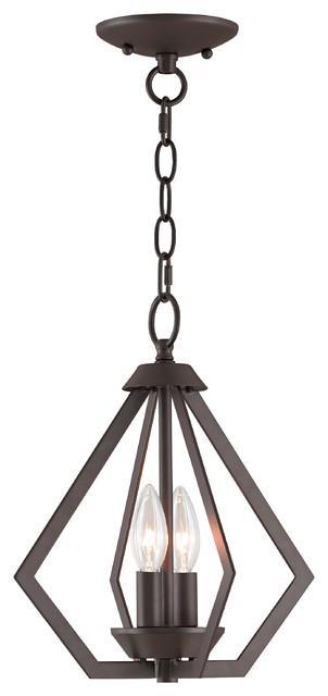 Prism 2-Light Mini Chandelier/Ceiling Mount, Bronze