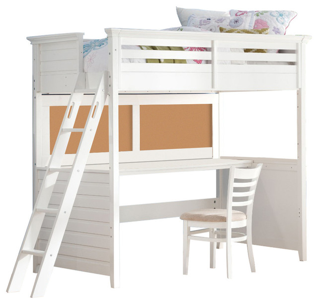 Wood Twin Size Loft Bed With Desk White
