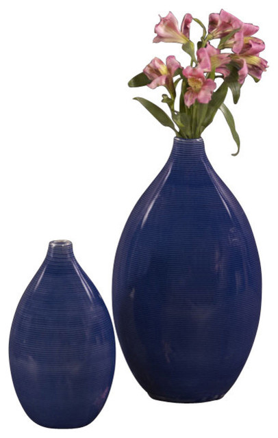 Cobalt Blue Glaze Ceramic Vases (Set of 2), Ceramic Cobalt Blue Glaze, Short