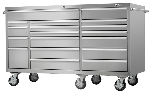 """PRO 72"""" 18-Drawer 304 Stainless Steel Rolling Cabinet - Industrial - Garage And Tool Storage ..."""