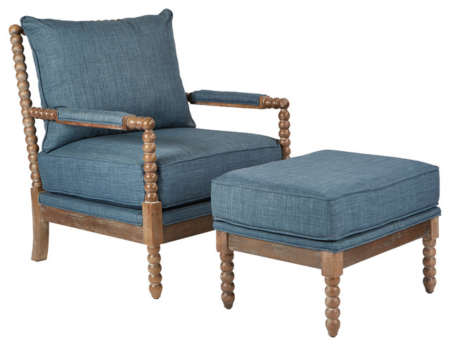 Louis Spindel Chair And Ottman With Wire Brush Modern , Milford Indigo.