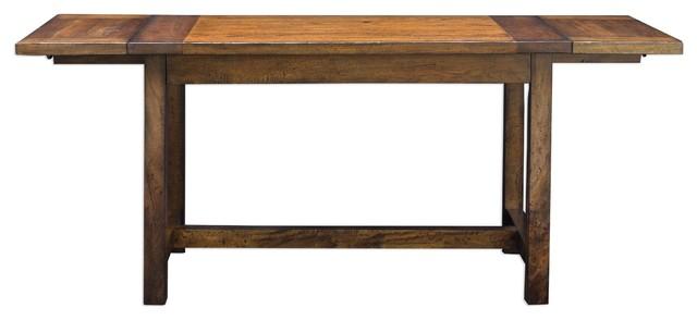 Rustic Antique-Style Oak Wood Dining Table, Drop Leaf 6 Seat Adjustable Kitchen.