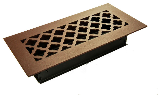 Tuscan Solid Steel Floor Supply Vent, Brown, 8x4 Supply.
