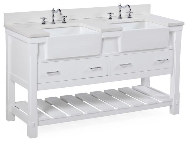 "Charlotte Bathroom Vanity, White, 60"", Quartz Top, Double Sink"