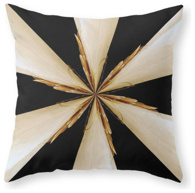 Black White And Gold Throw Pillows : Black, White and Gold Star Throw Pillow - Contemporary - Decorative Pillows - by Society6