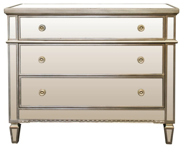 Borghese Mirrored 3 Drawer Chest Traditional Dressers By