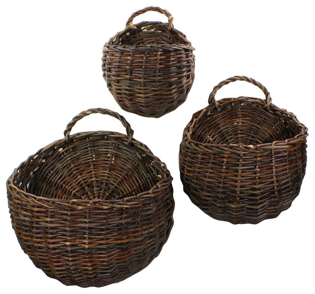 Wall Mounted Wicker Baskets