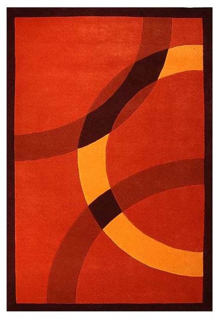 Circles Hand Tufted Wool Rug Orange And Red 5 X8 Contemporary