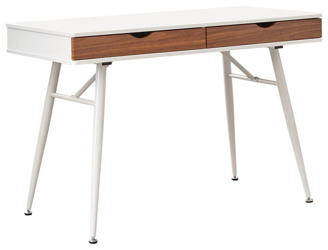Mid Century Modern White And Walnut Double Drawers Desk Midcentury Desks Hutches By Unique Furniture