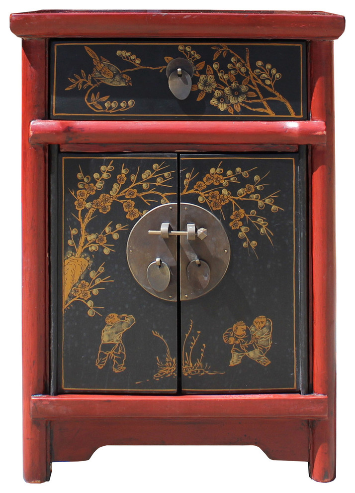 Nightstand Table: Golden Lotus Antiques Chinese Rustic Red Black Lacquer