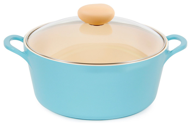 Neoflam Retro Ceramic Nonstick Stockpot With Glass Lid, Mint, 5qt.