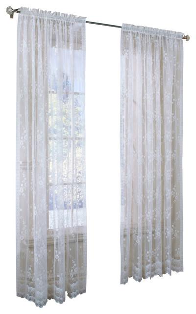 Mona lisa engineered bridal lace with scalloped hem for Mona lisa shower curtain