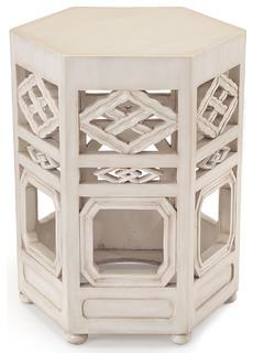 Deshi Global Bazaar White Wood Pierced Tea End Table