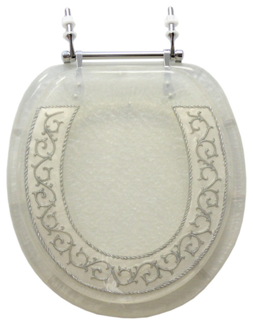 Trimmer Decorative Toilet Seat With White And Silver