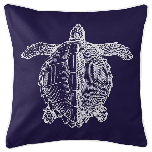 Vintage Sea Turtle Pillow, White On Navy.