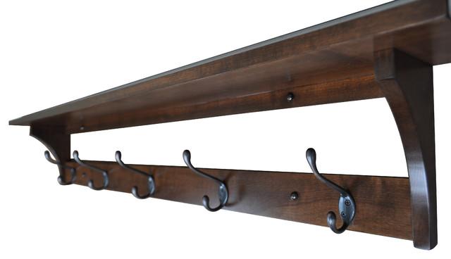 Shaker Coat Rack Shelf, Wall Mounted, 5 Hooks, Brown Maple Wood, Coffee Stain.