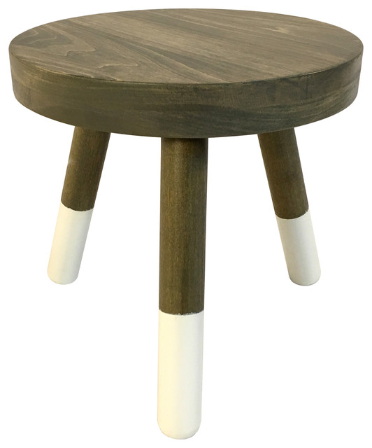 Wood Stool Plant Stand With Painted Legs, Weathered Gray