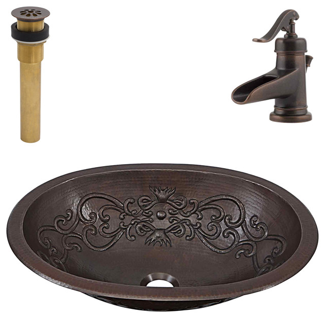 Pauling  Undermount/Drop-In Copper Sink Kit With Pfister Bronze Faucet & Drain
