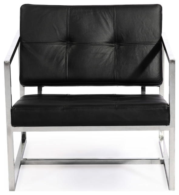 Modern 1950 Premium Leather And Stainless Steel Cube Chair, Black