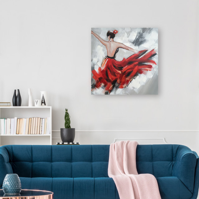 Abstract Hand Painted Dancing Girl in Red Dress I Oil Painting