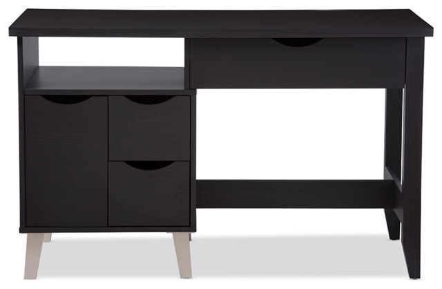 Mckenzie Wood 3-Drawer Desk, Two Open Shelves And Two Shelves, Dark Brown.