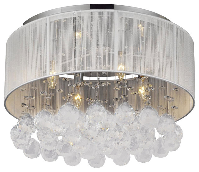 Flush mount with 4 light chrome and white shades crystal chandelier traditional chandeliers - White chandelier with shades ...