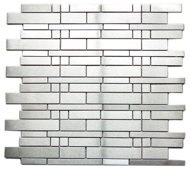Sample Stainless Steel Metal Pattern Mosaic Tile Kitchen: Mixed Brick Pattern Mosaic Stainless Steel Tile, Sample