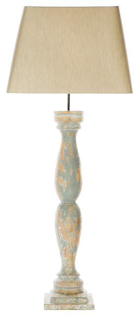 Odele French Coastal Distressed Blue Antique Table Lamp Beach Style Table  Lamps