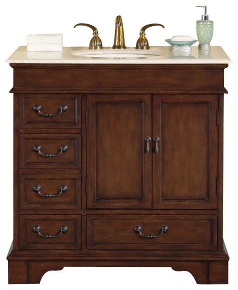 36 In. Ashley Single Sink Bathroom Vanity In English Chestnut.