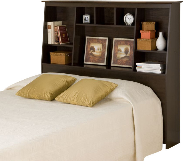 Bookcase Headboard prepac espresso tall bookcase headboard - traditional - headboards