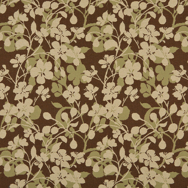 Beige Brown And Light Green Floral Indoor Outdoor Upholstery Fabric