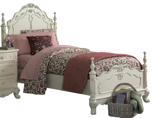 . Homelegance Cinderella Kids  Poster Bed in White   Twin