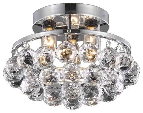 Elegant Lighting Corona Chrome Transitional Flush Mount With 3 Light 60w.