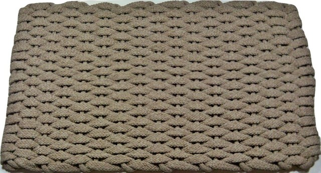 Hand Woven Rope Mat, Tan With Tan Insert, 38x24.