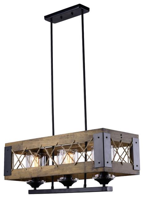 LNC Wood Chandeliers 3Light Kitchen Island Lighting – Wood Chandelier Lighting