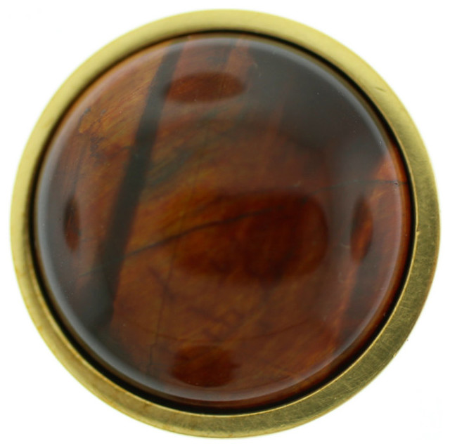 Red Tiger's Eye Stone Knob - Contemporary - Cabinet And Drawer Knobs - by Stephen D. Evans, Inc.