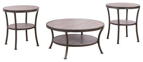 Attirant 3 Piece Modern Round Coffee Table And 2 End Tables Living Room Set, Ru