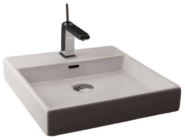 Ceramic Wall Mounted Or Vessel Bathroom Sink, Three Holes, 17.7, Plain 45w.03.