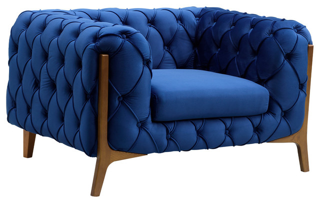 Jade Modern Tufted Sofa Chair in Champagne finish with Dark Blue Velvet