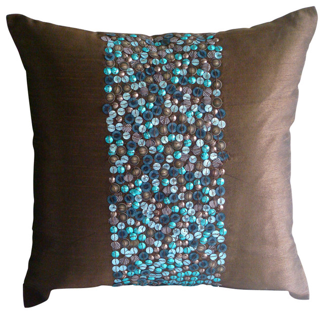 """Brown Art Silk 18""""x18"""" 3d Turquoise Sequins Pillows Cover, Cocoa & Turq."""