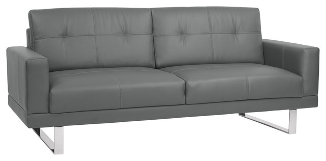 Armen Living Lincoln Mid-Century Tufted Faux Leather Sofa With Chrome Legs, Gray.